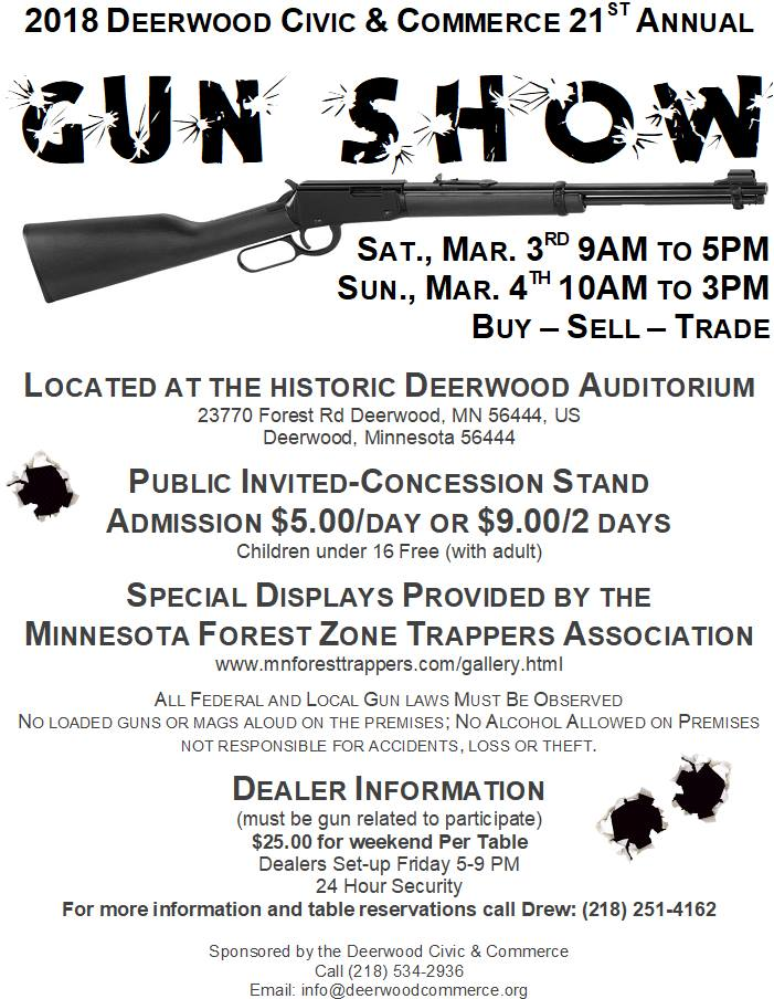 2018 Deerwood Civic Commerce Gun Show Brainerd Mn Lakes Calendar