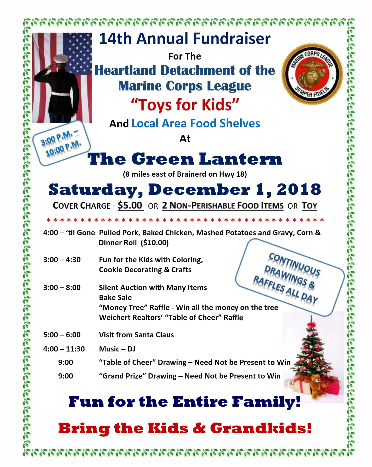 toys for kids fundraiser event at green lantern bar and grill